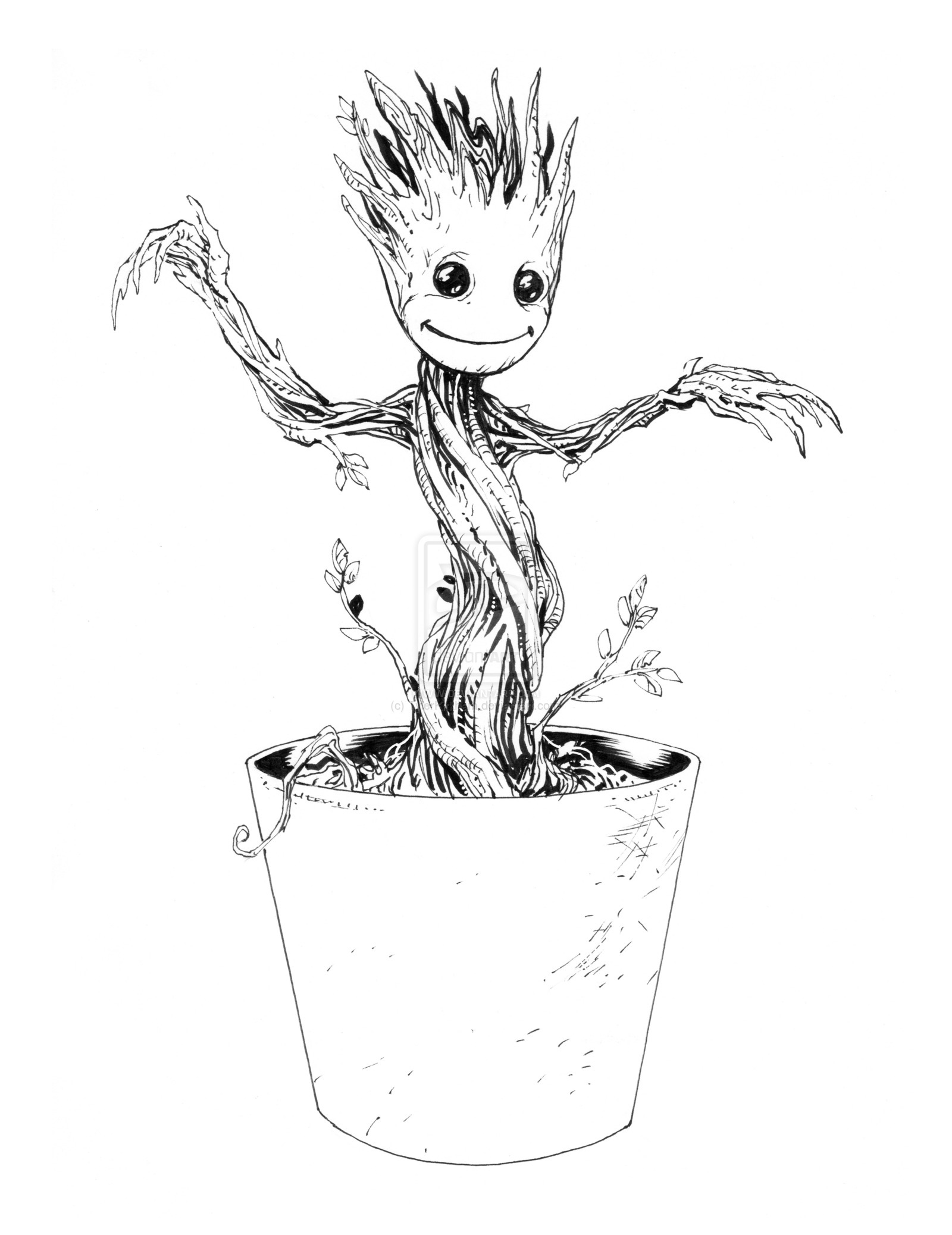 baby groot coloring page 3