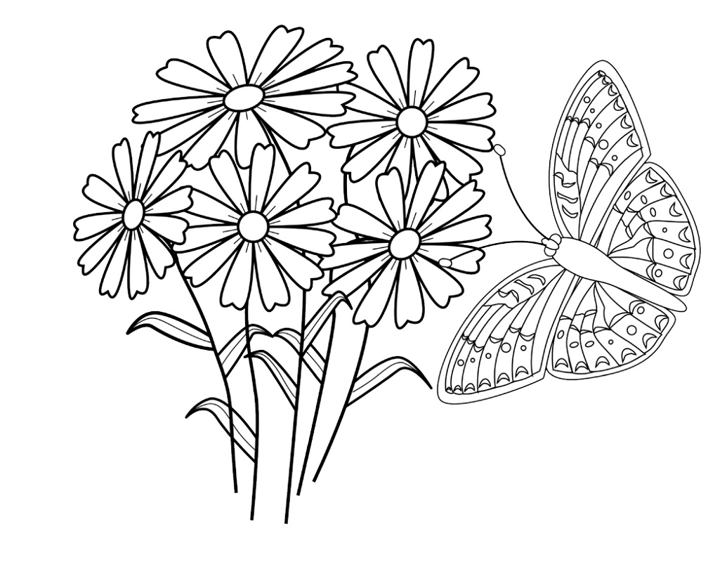 coloring pages of flowers and butterflies 2