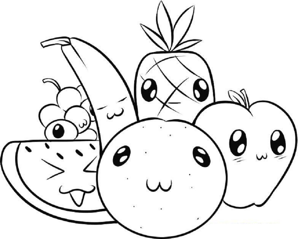 cute food coloring pages 2