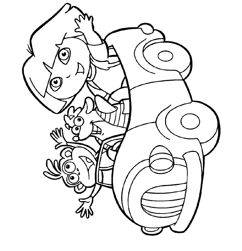 dora coloring pages driving car