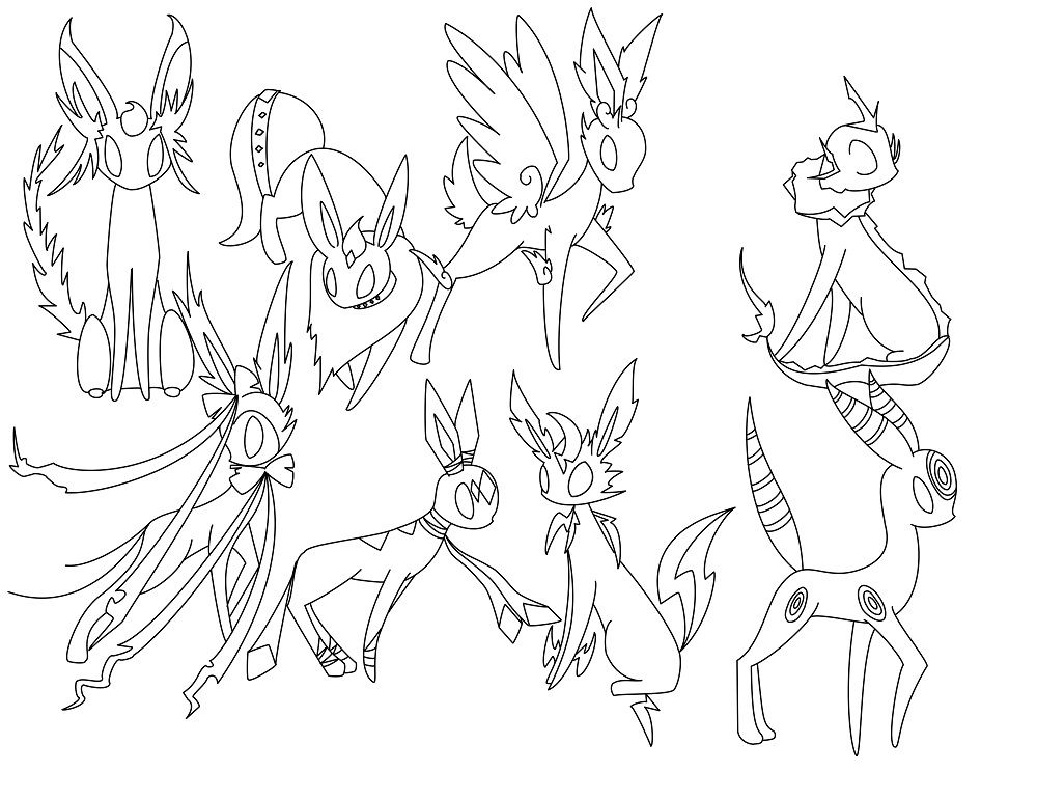 eeveelutions coloring pages four