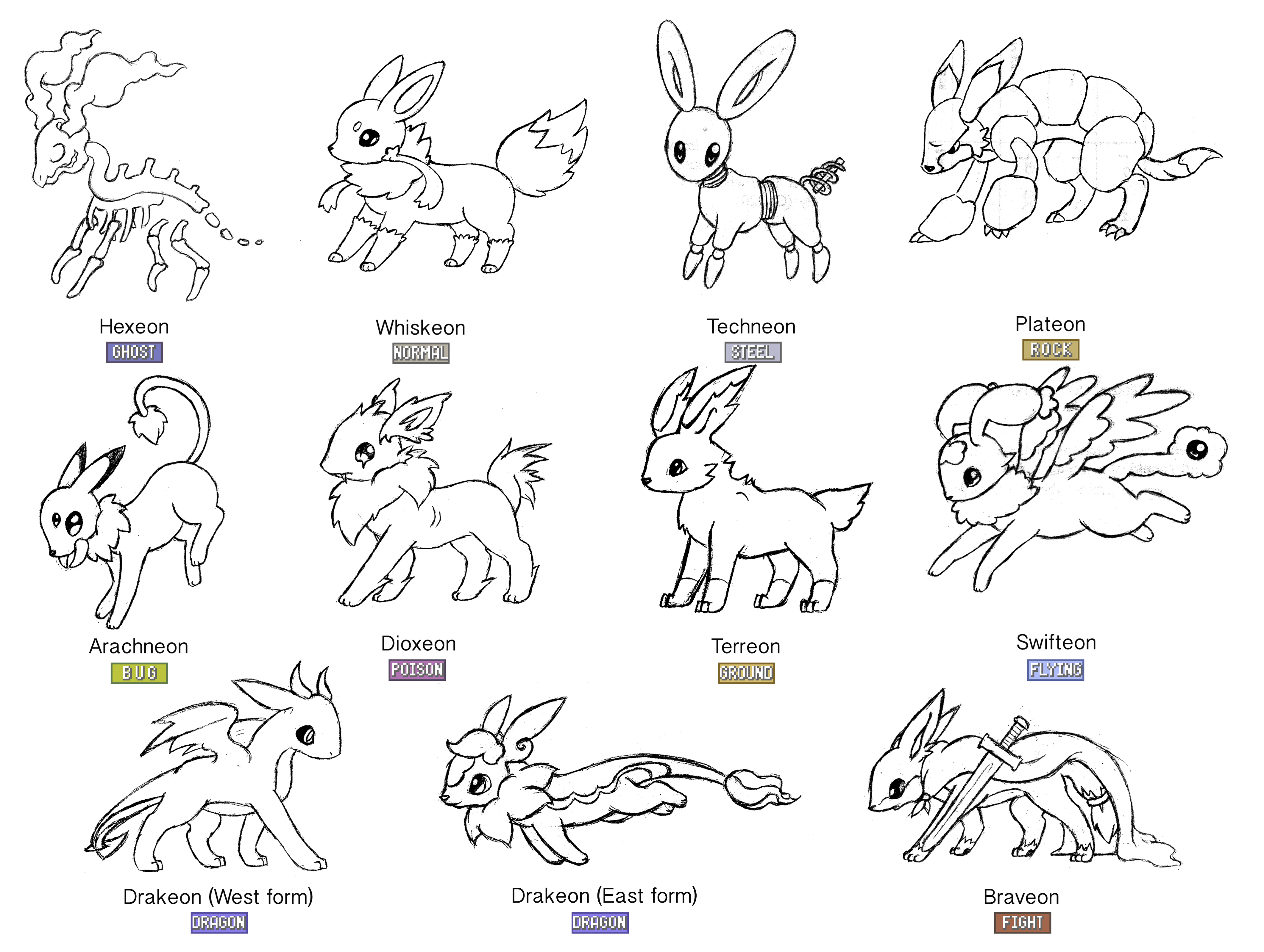 eeveelutions coloring pages two