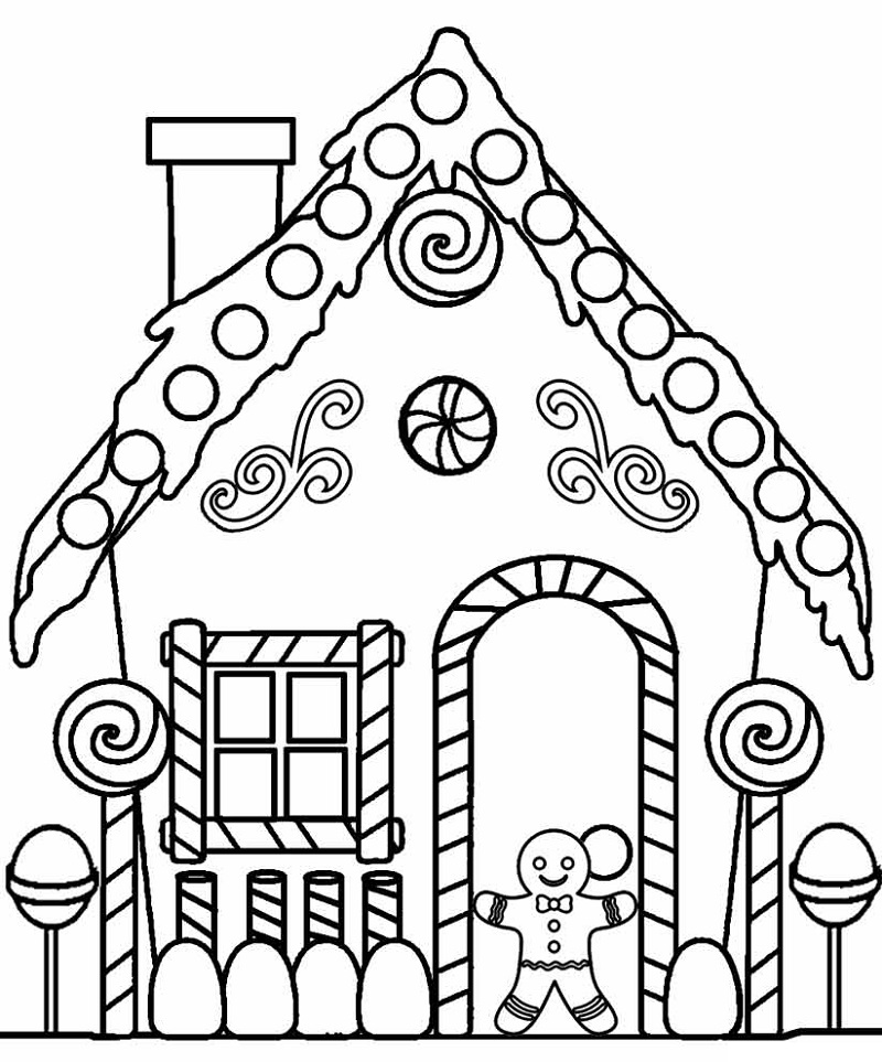 gingerbread house coloring pages 1