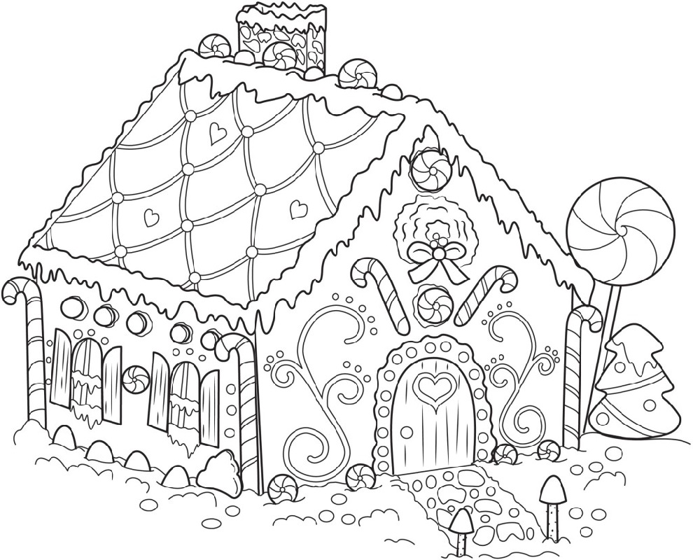 gingerbread house coloring pages 2