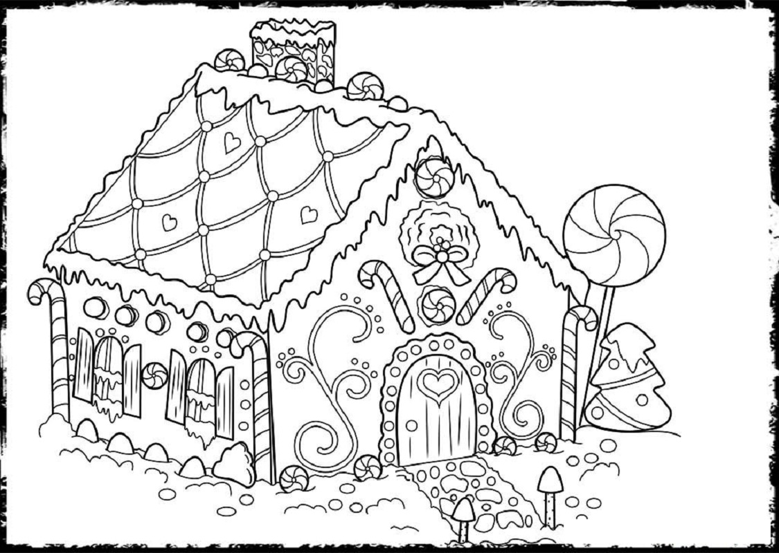 gingerbread house coloring pages 4