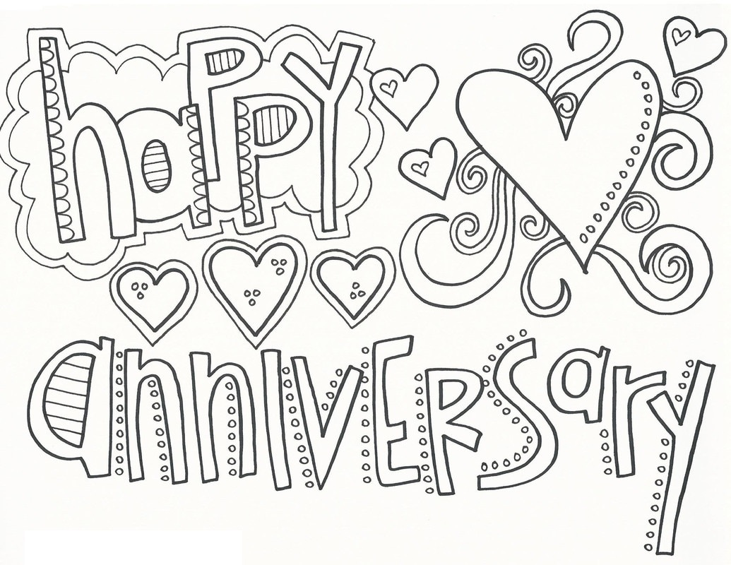 happy anniversary coloring page 1