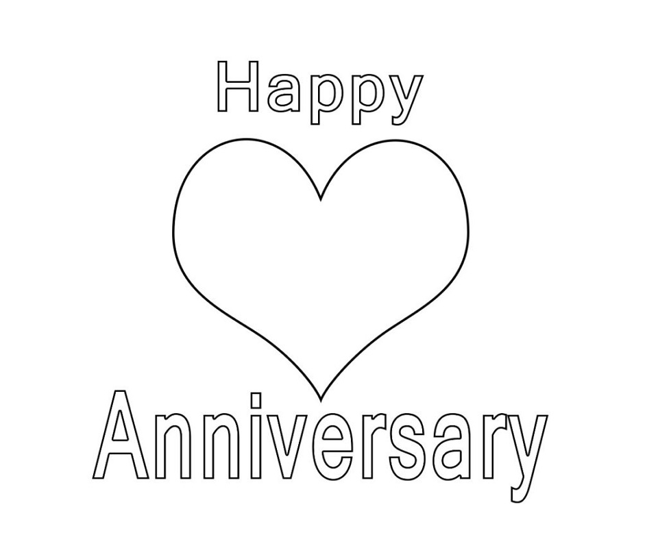 happy anniversary coloring page 5