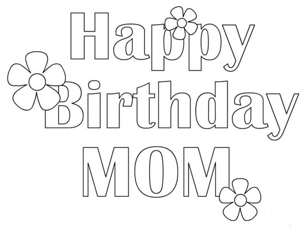 happy birthday mom coloring page 1