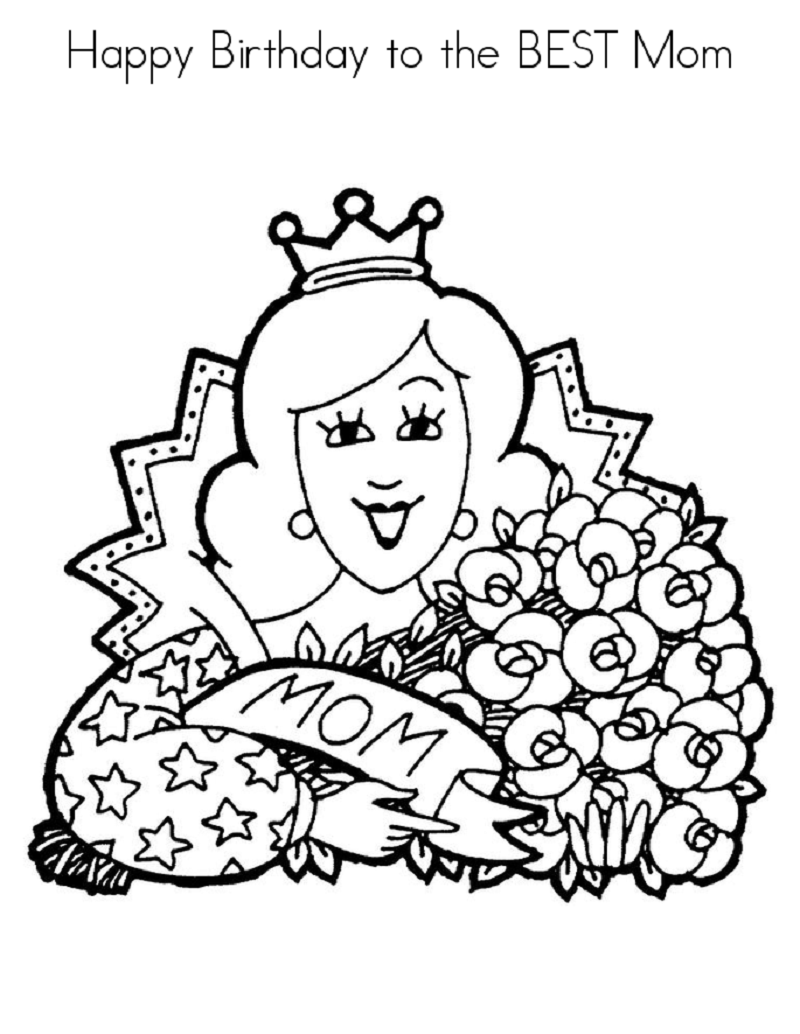happy birthday mom coloring page 3