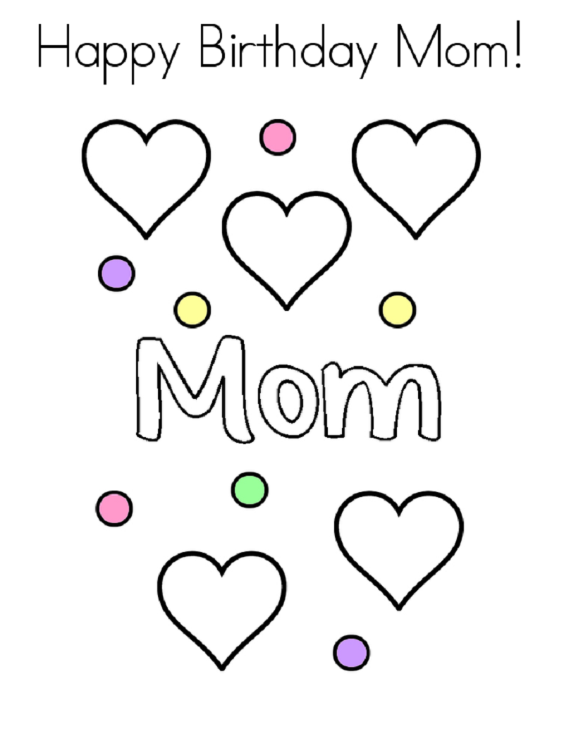 happy birthday mom coloring page 4