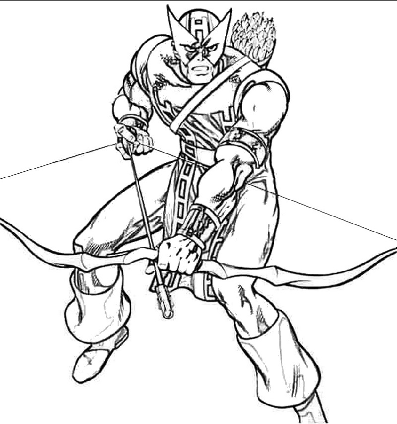hawkeye coloring pages 4