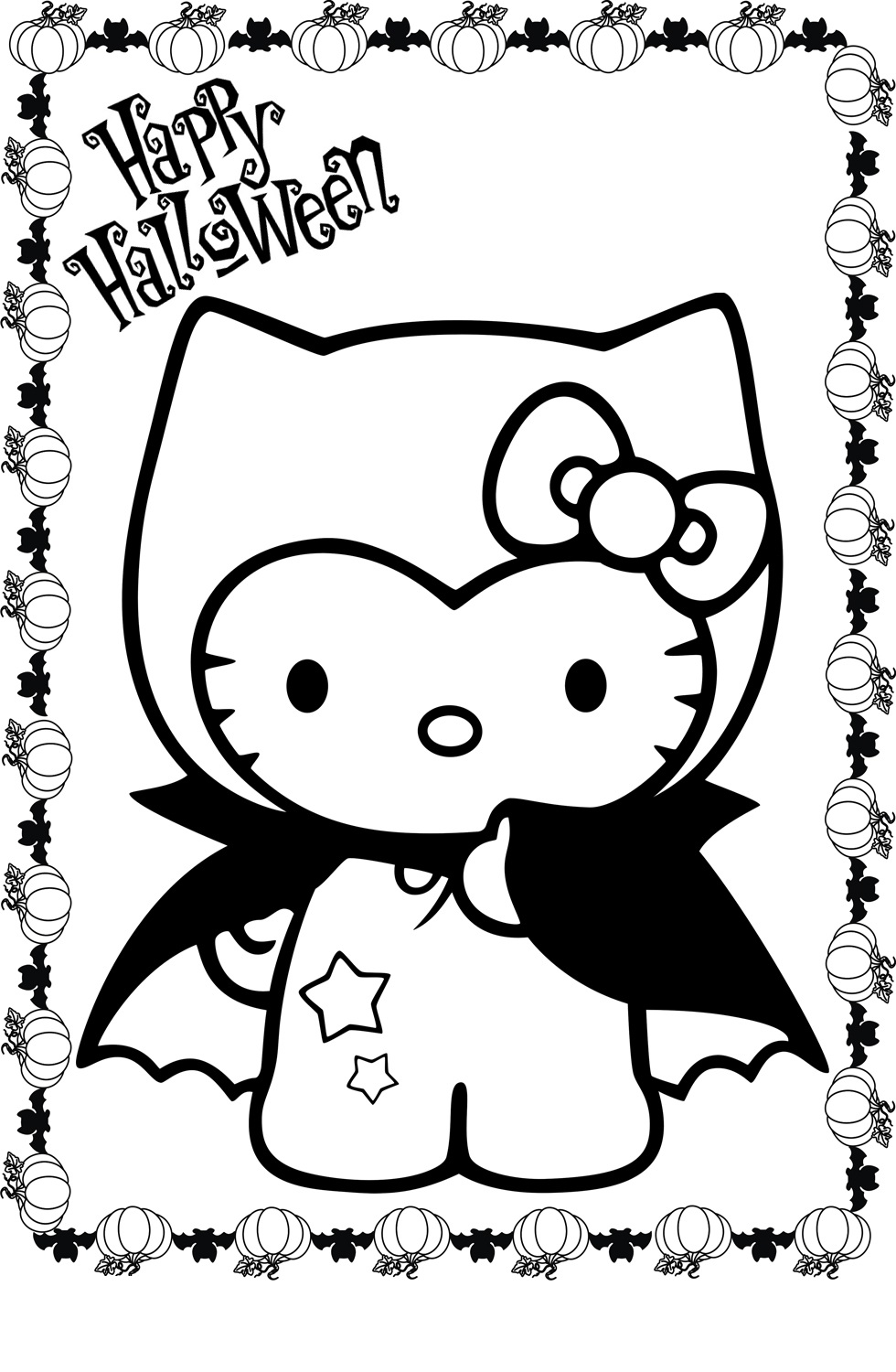 hello kitty halloween coloring pages 1