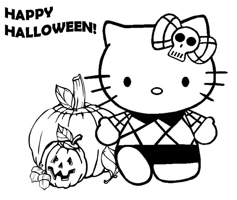 hello kitty halloween coloring pages 2