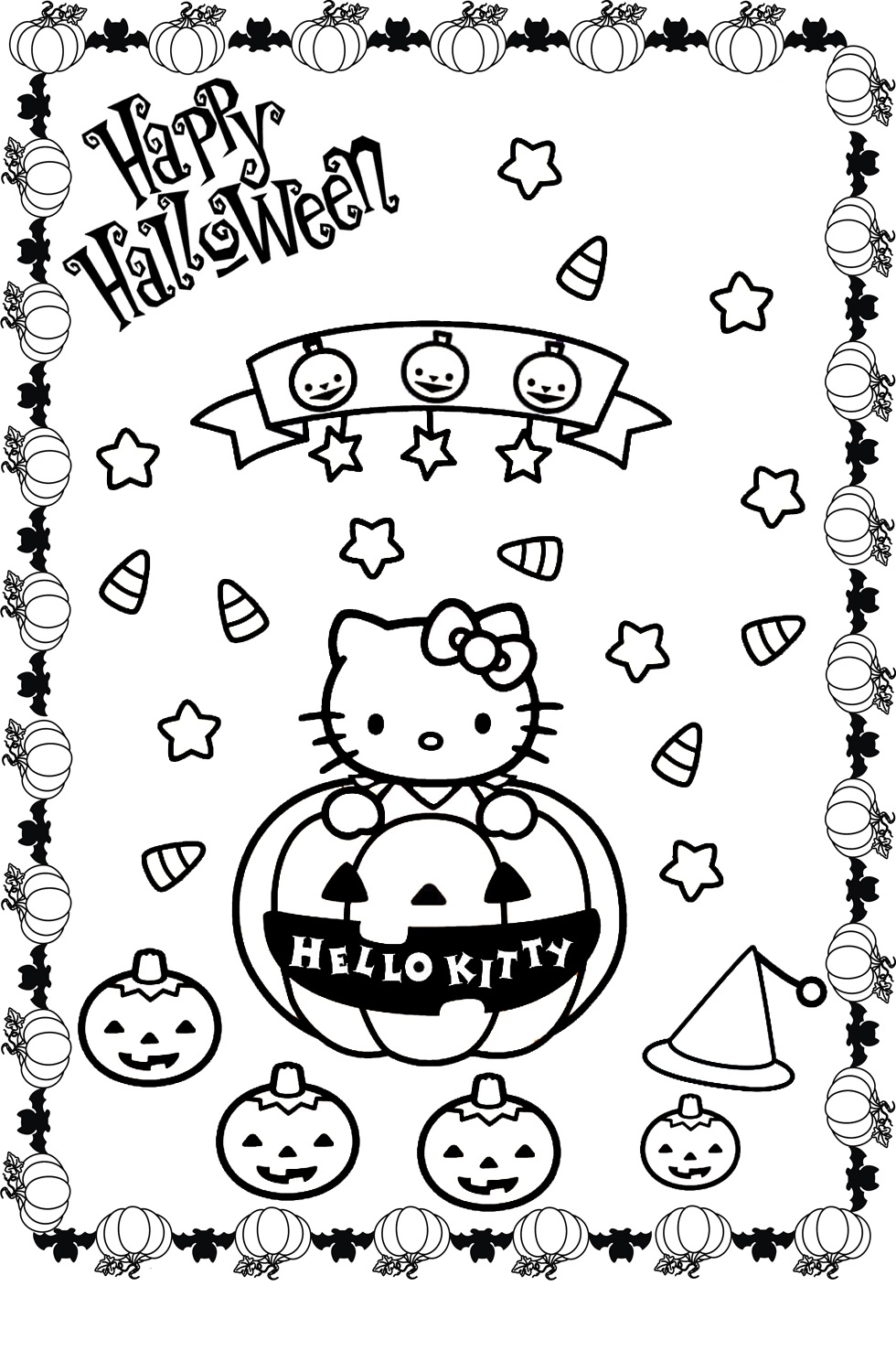 hello kitty halloween coloring pages 3