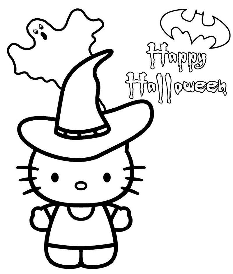 hello kitty halloween coloring pages 4