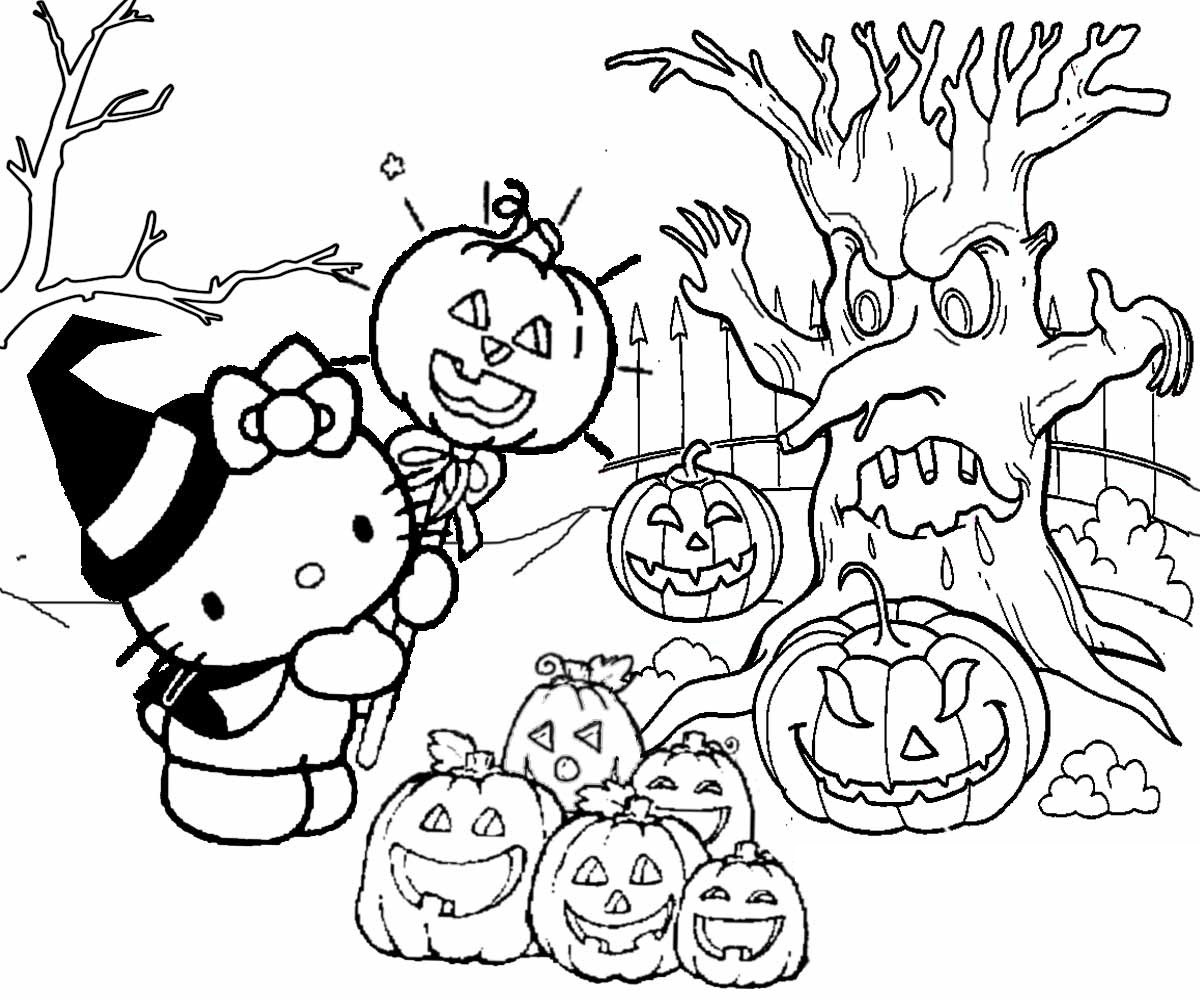 hello kitty halloween coloring pages 5