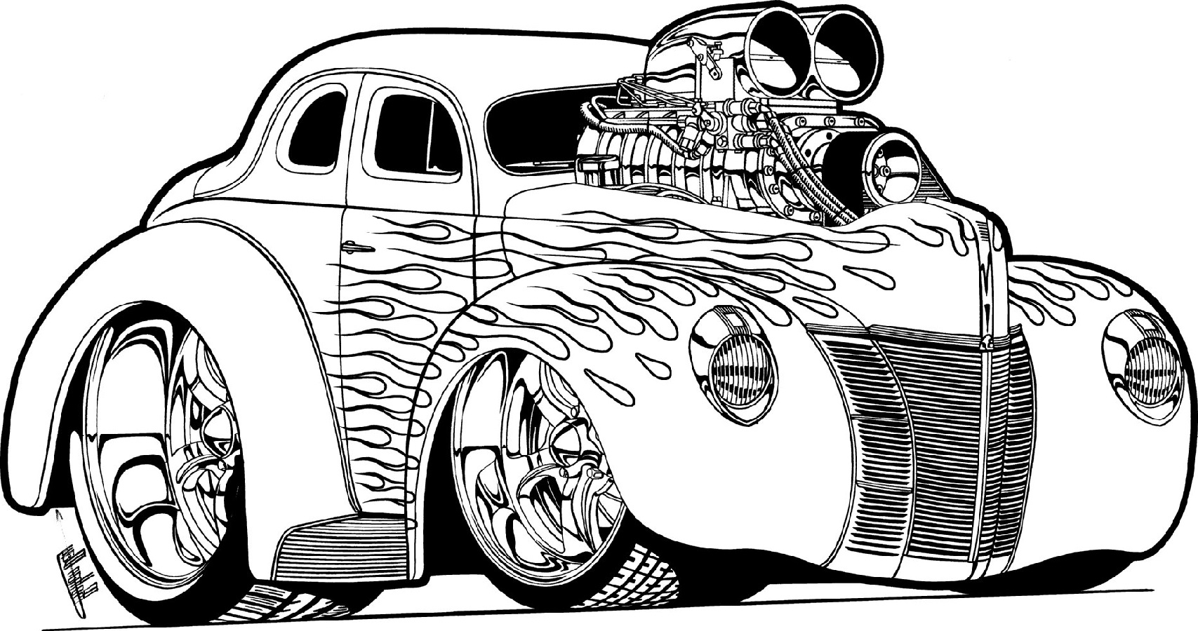 hot rod coloring pages 2