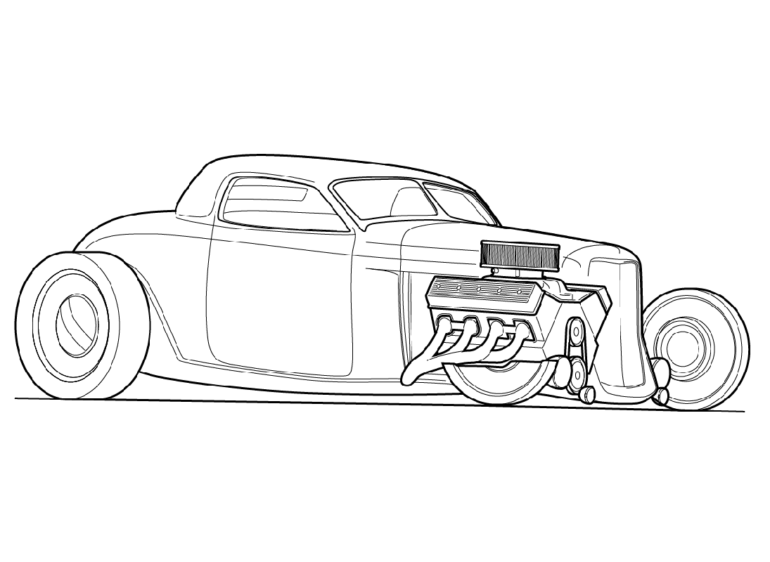 hot rod coloring pages 5