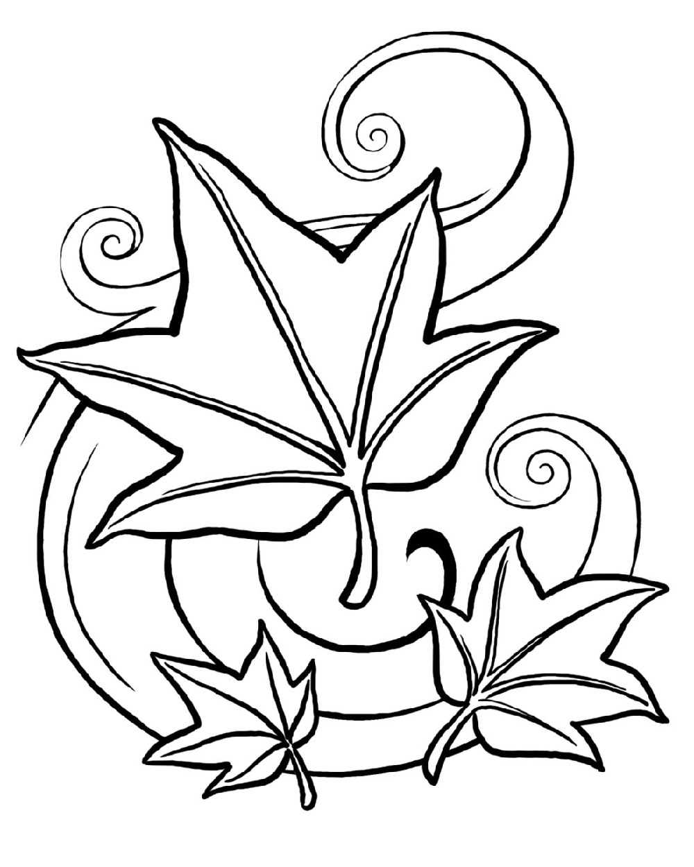 leaf coloring pages fall leaves