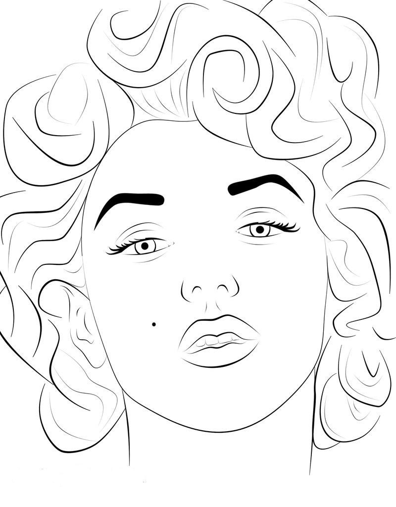 marilyn monroe coloring pages face