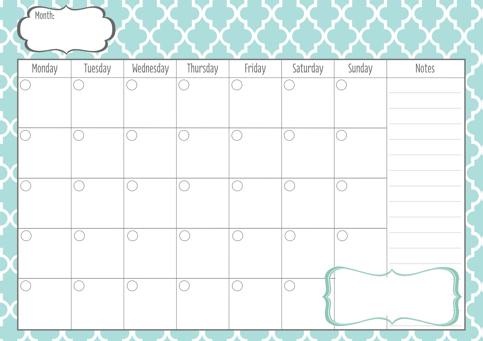 monthly calendar printable 5