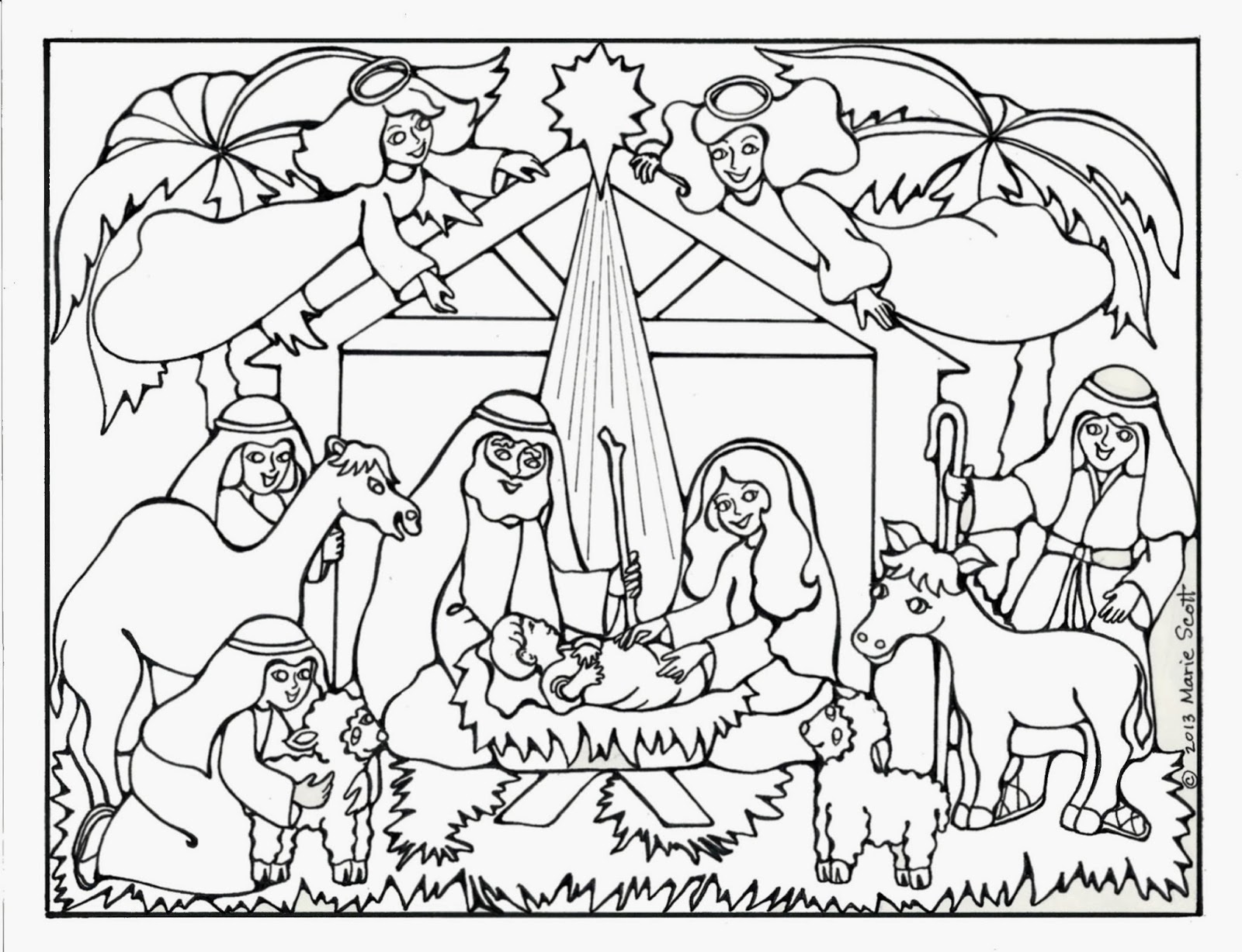 nativity coloring pages 1