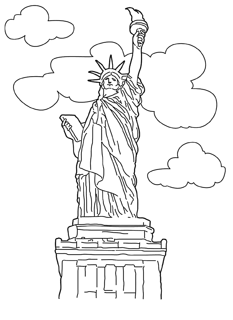 statue of liberty coloring page 1