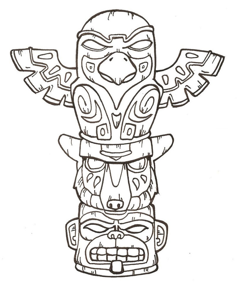 totem pole coloring pages 2