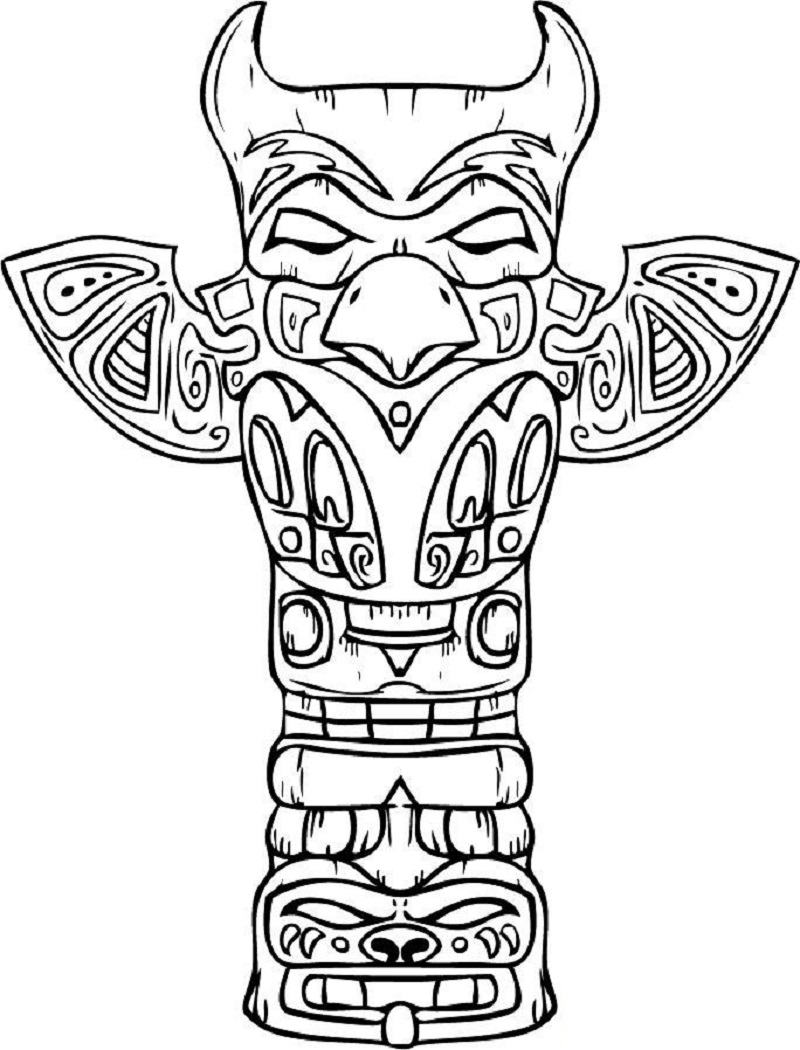 totem pole coloring pages 3