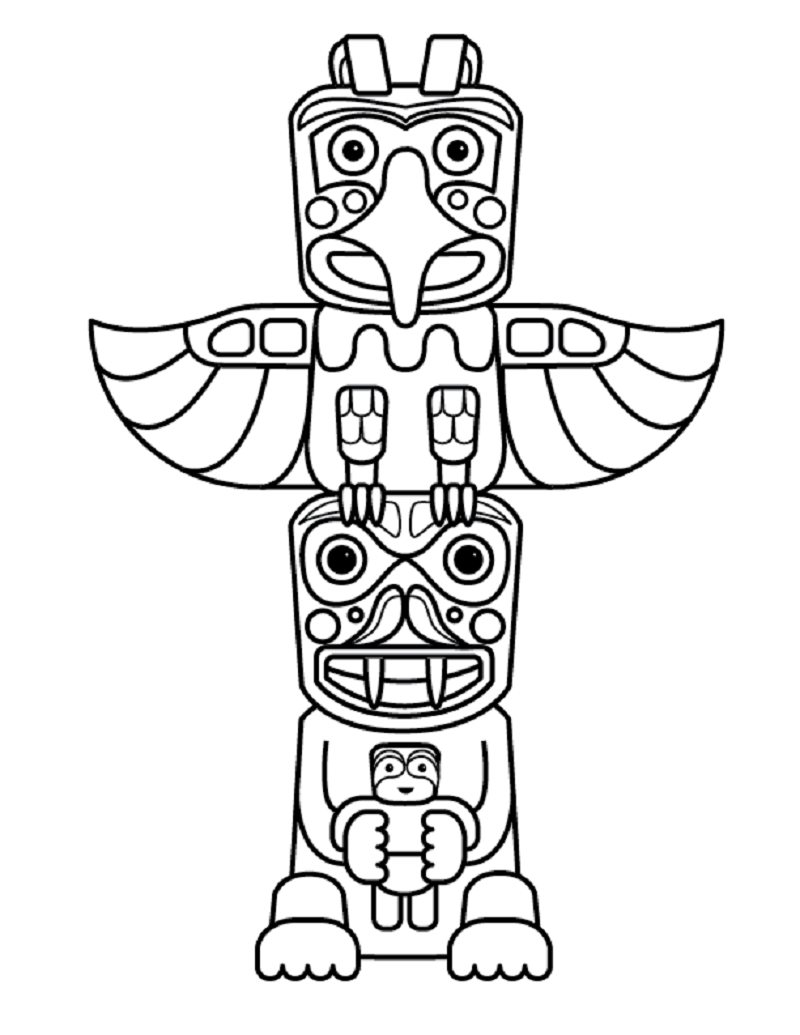 totem pole coloring pages 4