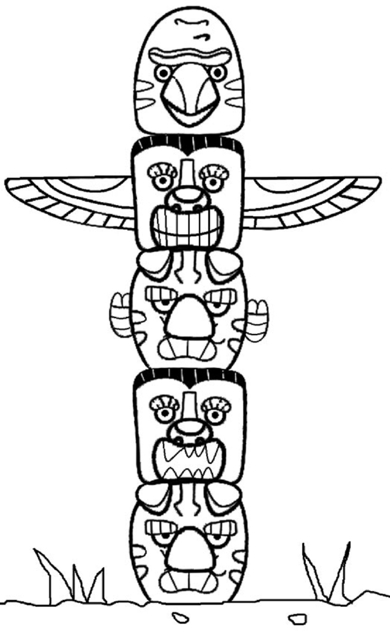 totem pole coloring pages 5
