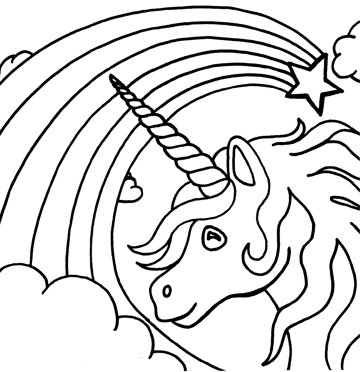 unicorn rainbow coloring pages 1