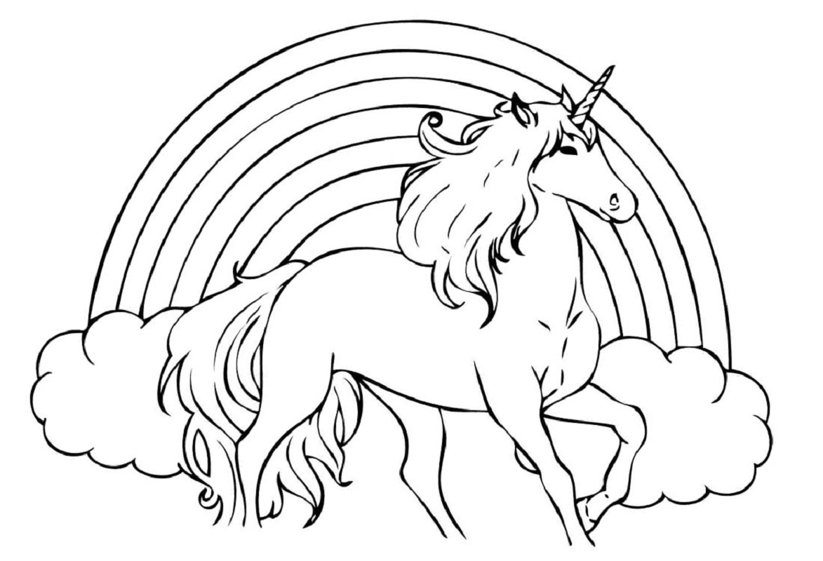 unicorn rainbow coloring pages 2