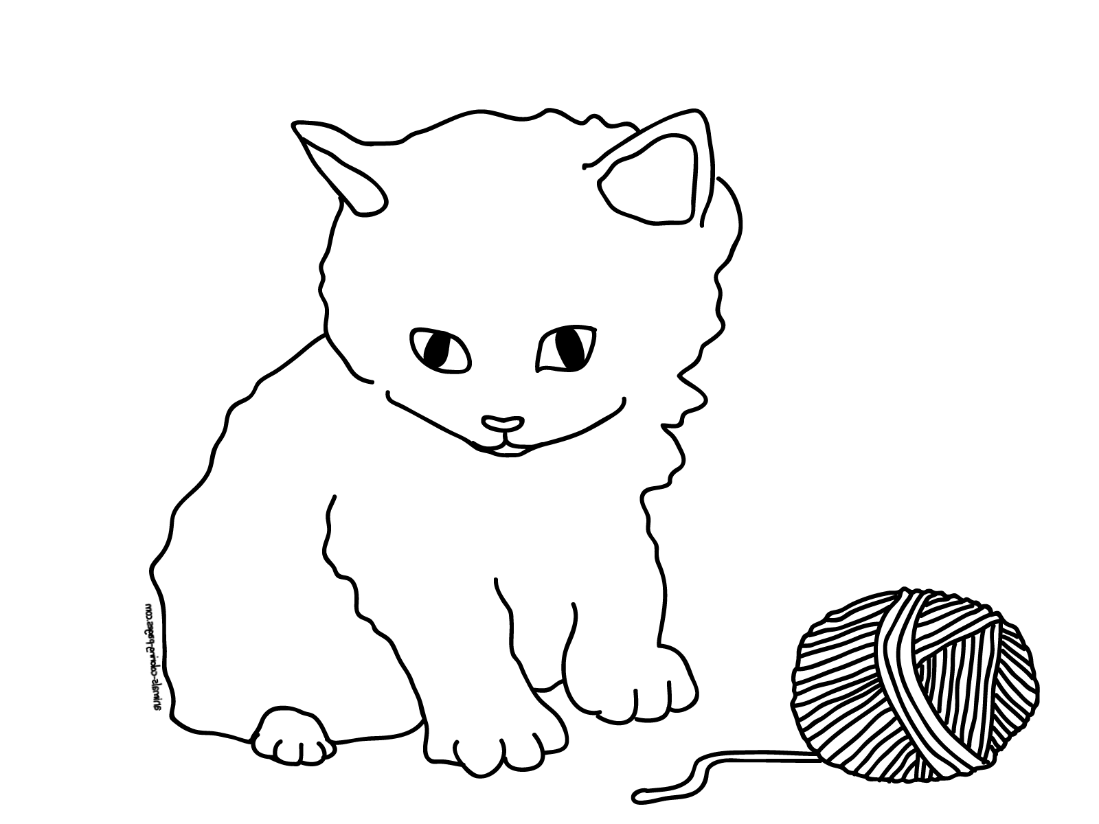 Kitten coloring pages sad