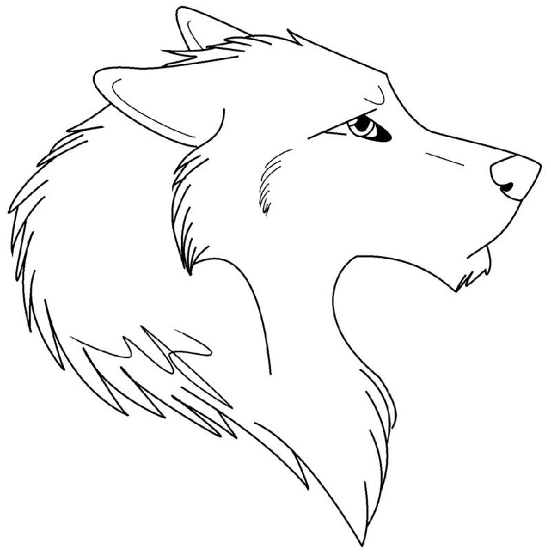 anime wolf coloring pages face