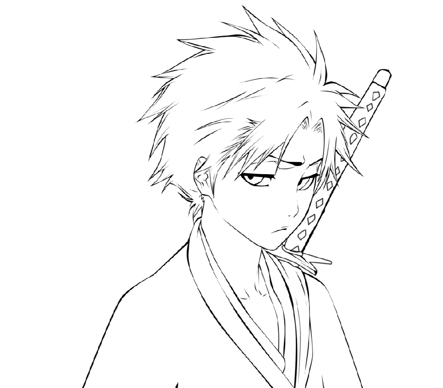 bleach coloring pages handsome