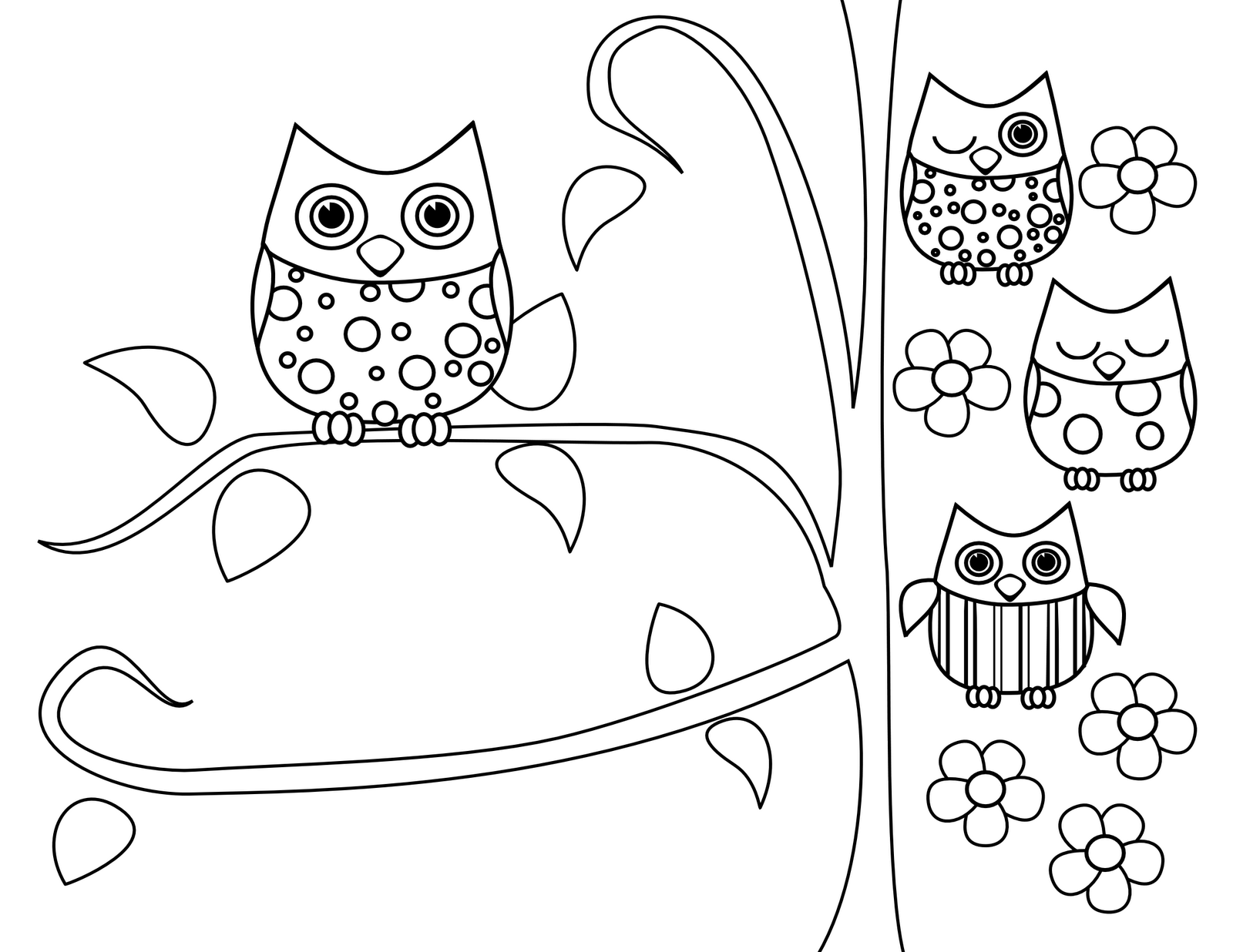 cute owl coloring pages 3