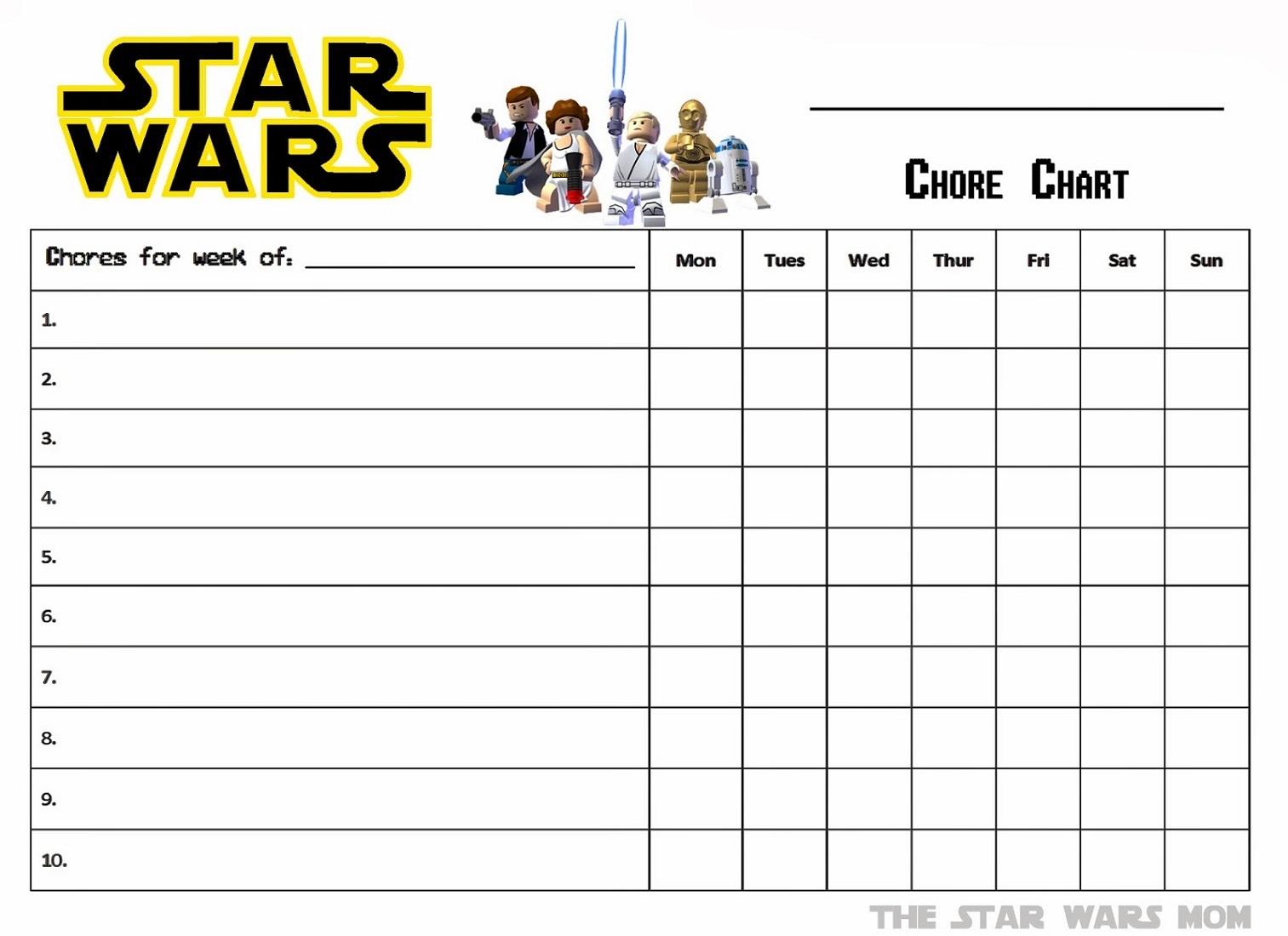 free printable chore charts 1