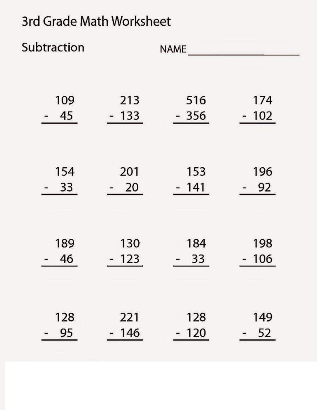 free third grade math worksheets 2