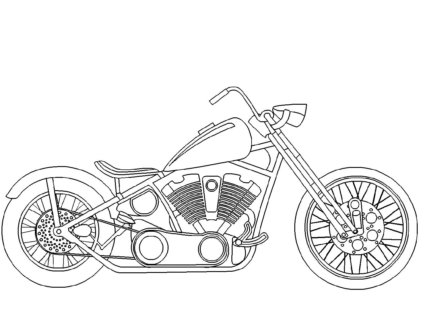 motorcycle coloring pages chooper