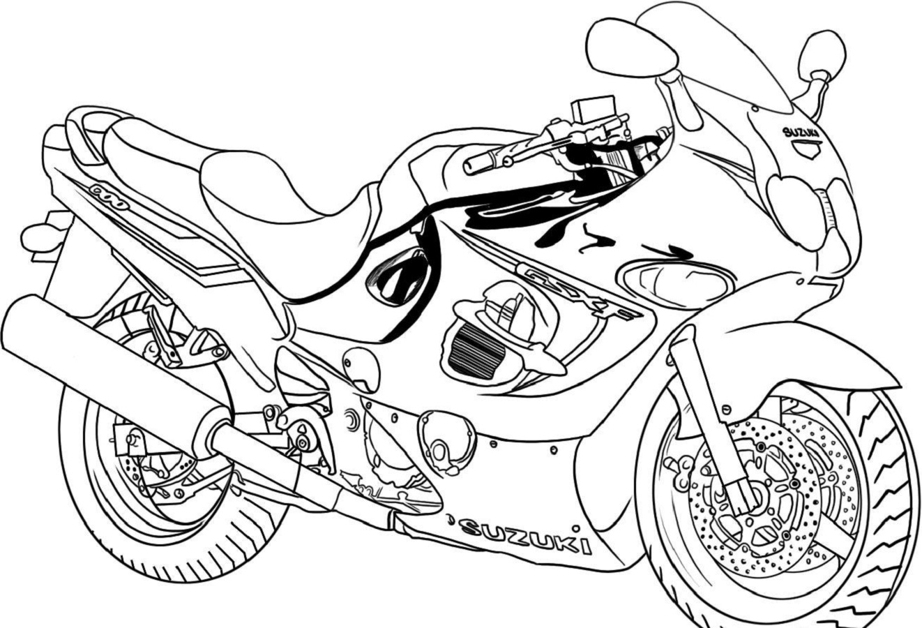 motorcycle coloring pages sport