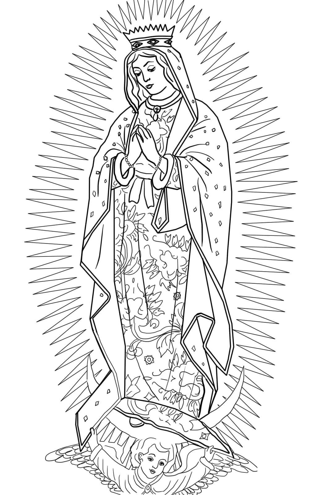 our lady of guadalupe coloring page 2