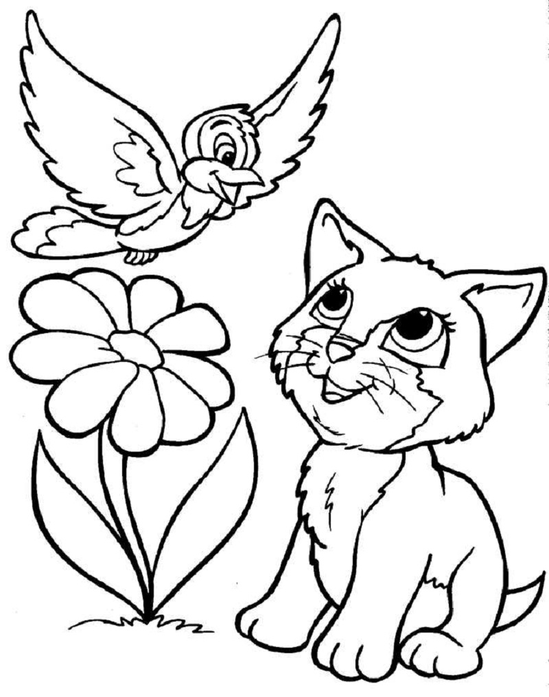 puppy and kitten coloring pages 5
