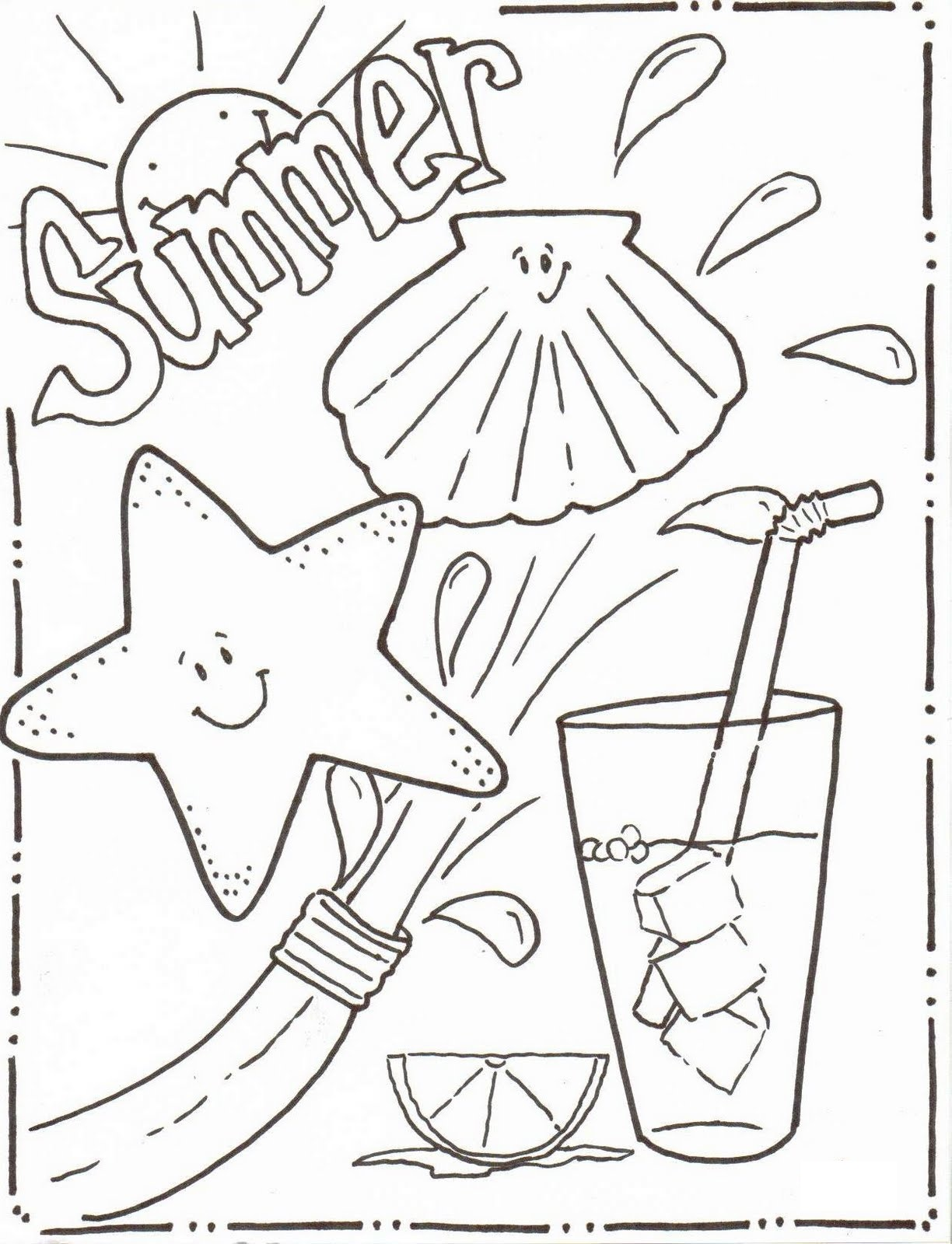 summer coloring sheets 1