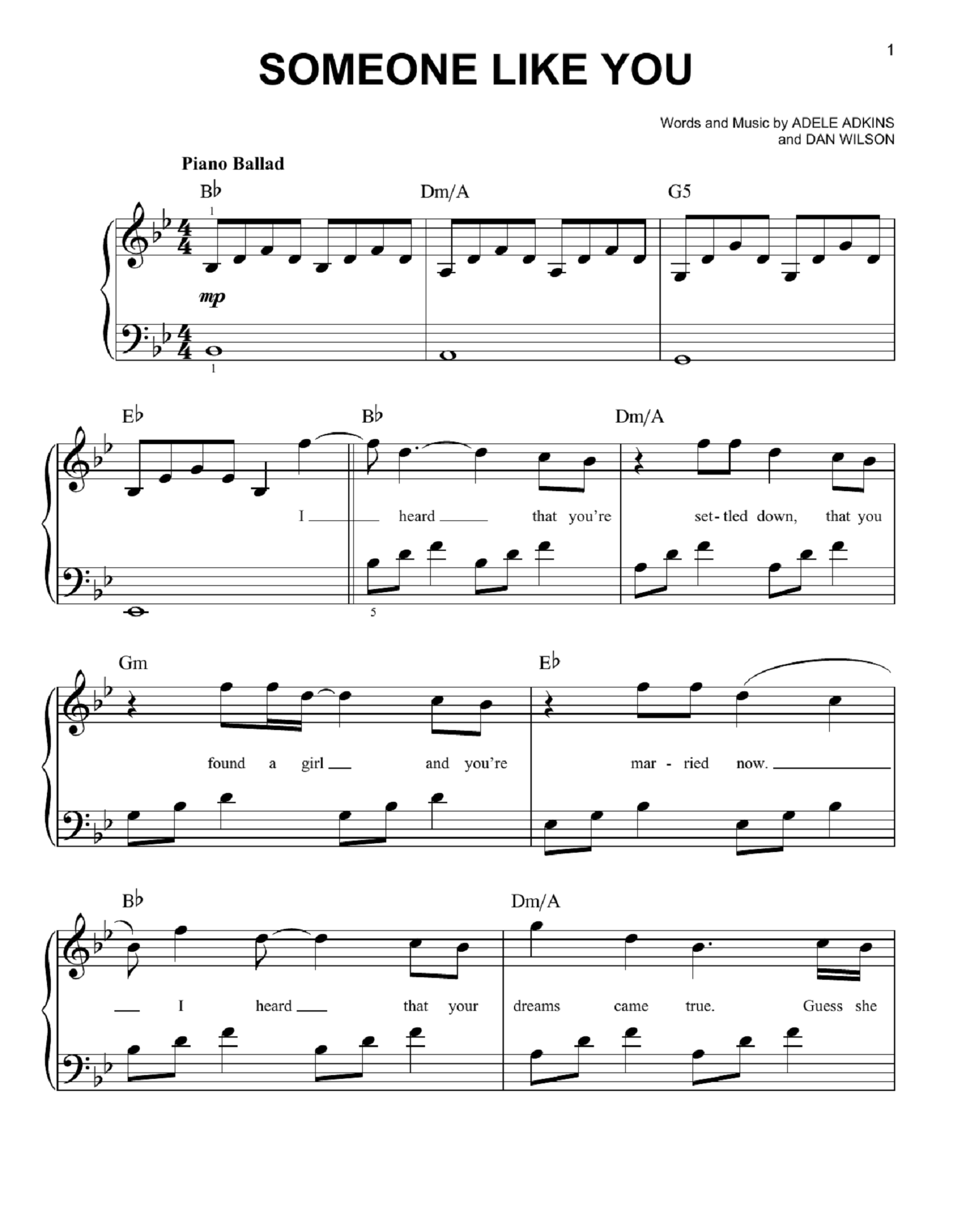 adele piano sheet music 1
