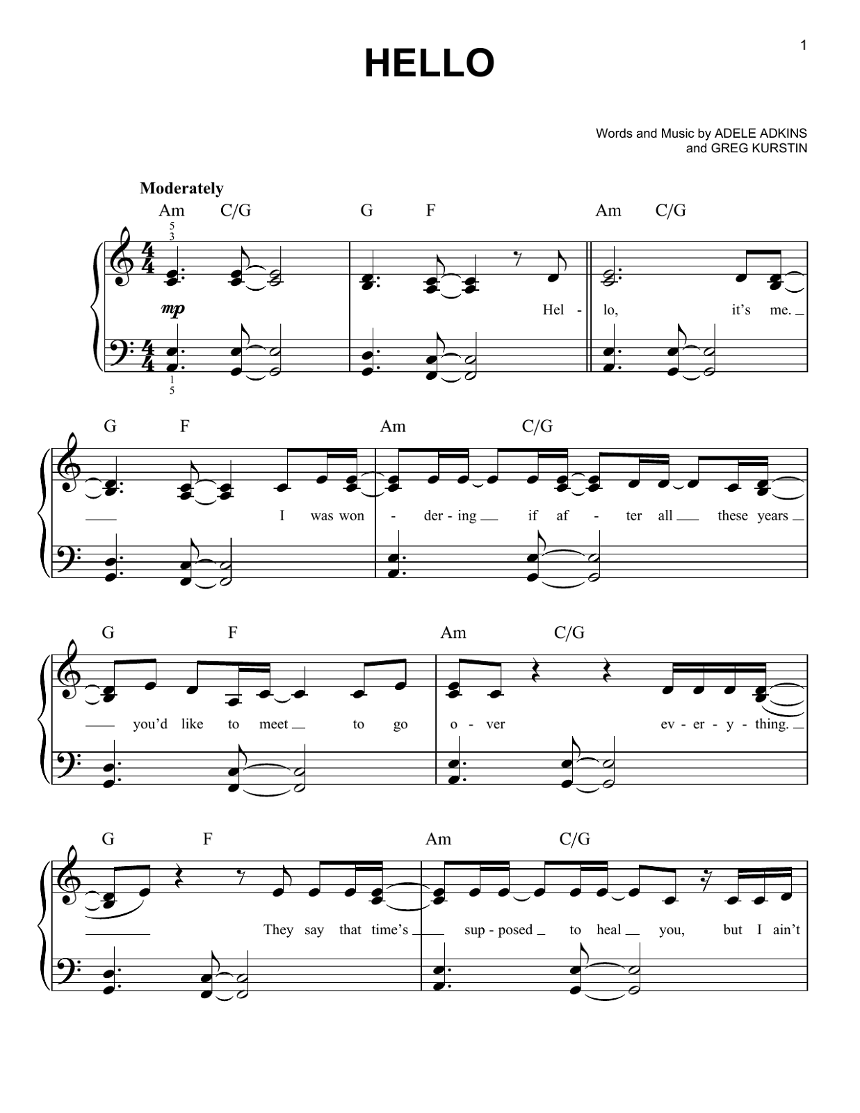 adele piano sheet music 2