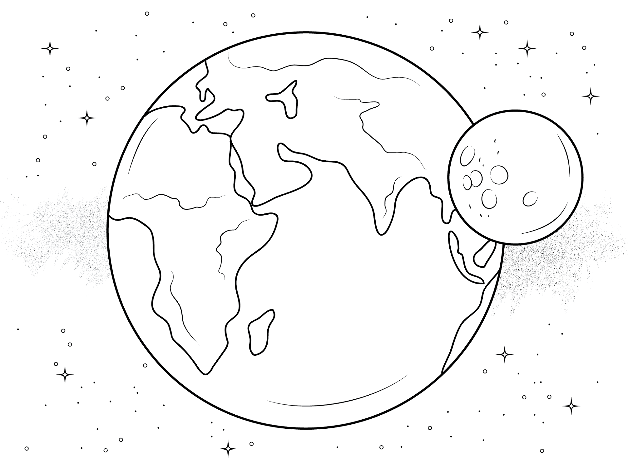 eclipse coloring pages earth and moon