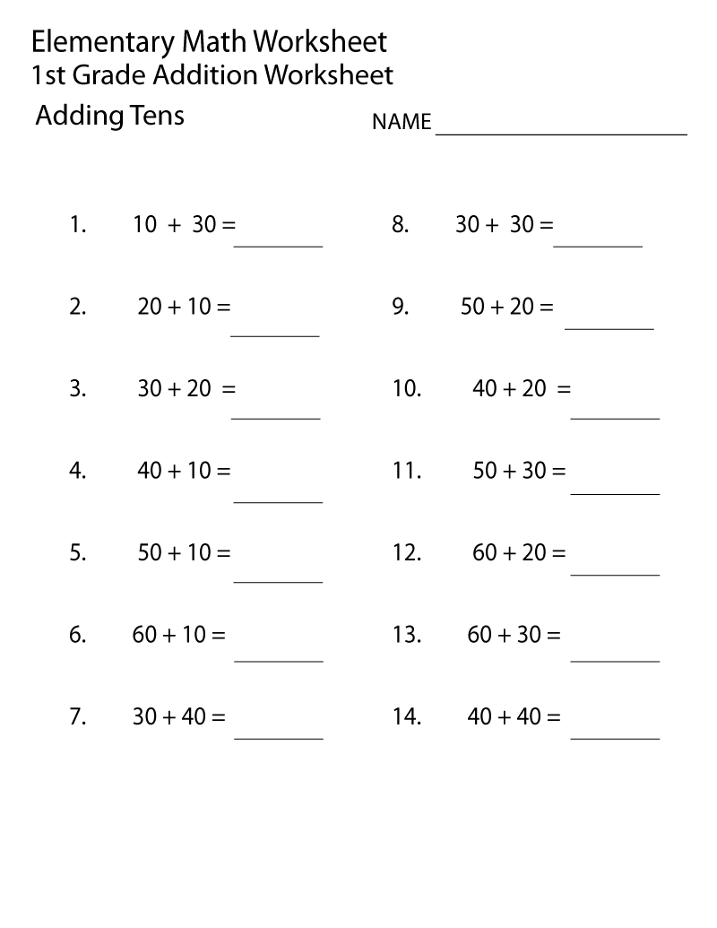 free first grade math worksheets 5