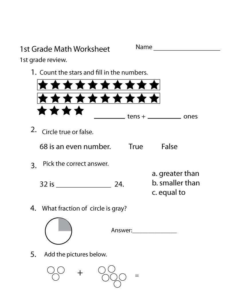 free math worksheets for 1st grade 5