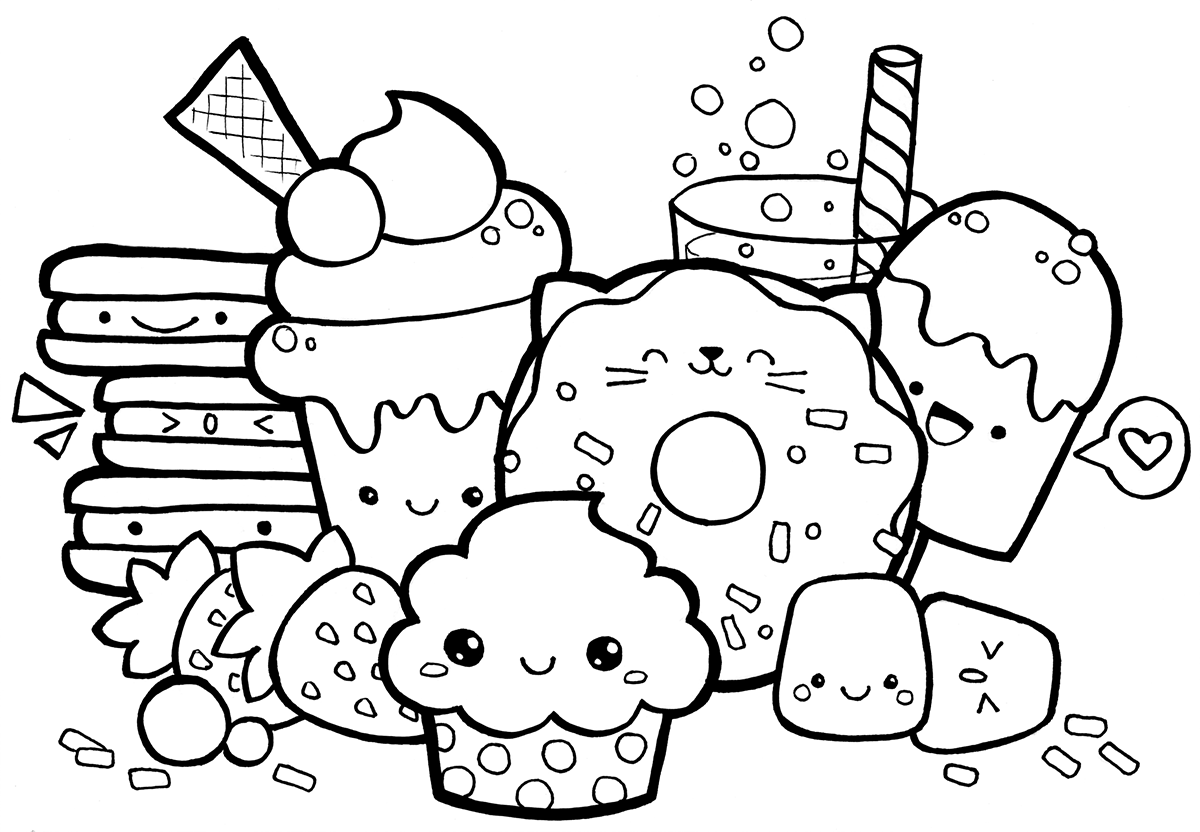 kawaii food coloring pages 1